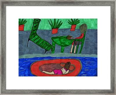 At The Pool Side Framed Print by Elinor Helen  Rakowski