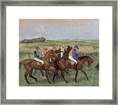 At The Races  1885 Framed Print by Edgar Degas