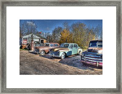 At The Service Station Framed Print
