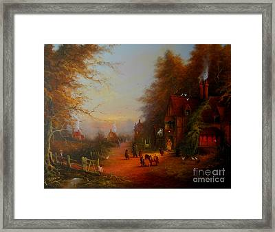 At The Sign Of The Prancing Pony. An Encounter With Strider Framed Print by Joe  Gilronan