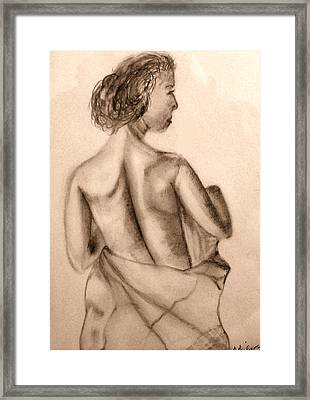 Framed Print featuring the drawing At The Spa by Barbara Giordano