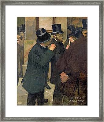 At The Stock Exchange Framed Print by Edgar Degas
