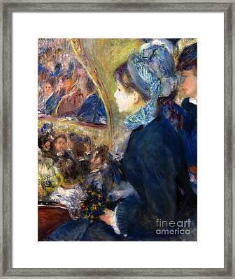 At The Theatre, By Pierre-auguste Renoir, 1876-7, National Galle Framed Print