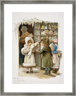 At The Toy Shop Framed Print by Vintage Design Pics