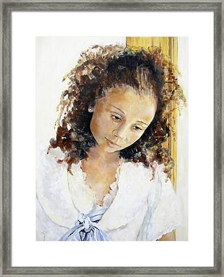 Framed Print featuring the painting At The Window by Jodie Marie Anne Richardson Traugott          aka jm-ART