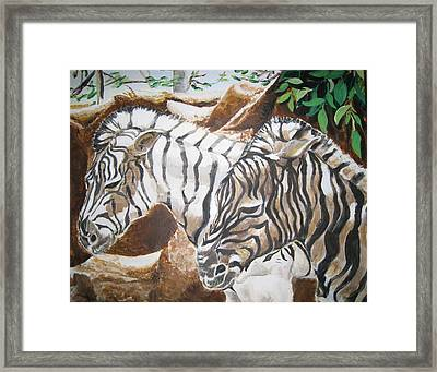 Framed Print featuring the painting At The Zoo by Julie Todd-Cundiff