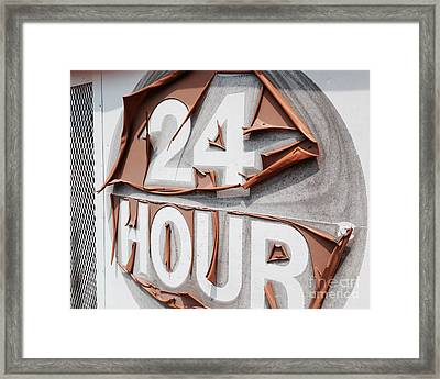 At Your Service 24 Hours - Old Sign Framed Print