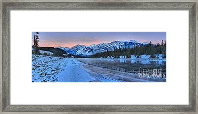 Athabasca River Pink Sunset Framed Print