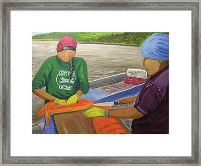 Athabaskan Women Cutting Salmon Framed Print by Amy Reisland-Speer