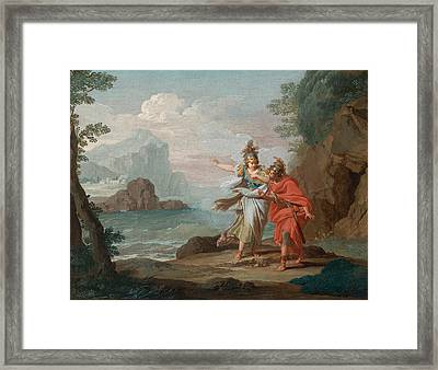 Athena Appearing To Odysseus To Reveal The Island Of Ithaca Framed Print