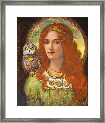 Athena And Her Owl- Wise Ones Framed Print