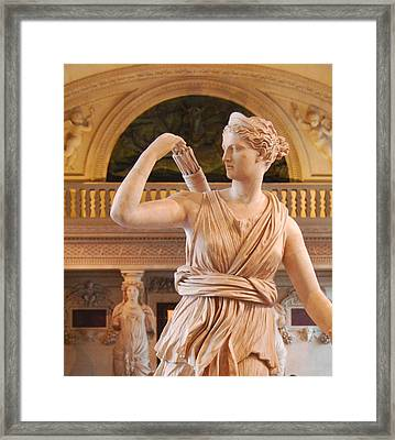 Framed Print featuring the digital art Athena Statue by Nancy Bradley