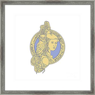 Athena With Owl On Shoulder Circuit Circle Mono Line Framed Print by Aloysius Patrimonio