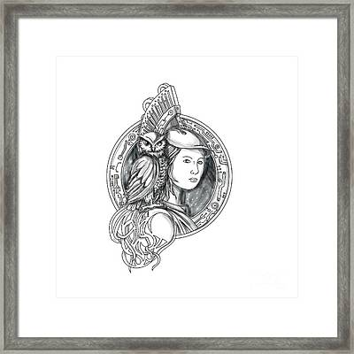 Athena With Owl On Shoulder Electronic Circuit Circle Tattoo Framed Print by Aloysius Patrimonio