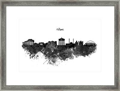 Athens Black And White Skyline Framed Print