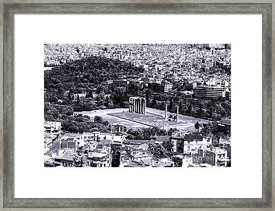Athens Cityscape Iv Framed Print by John Rizzuto