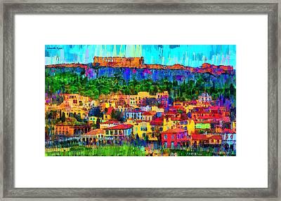 Athens Cityscape - Pa Framed Print by Leonardo Digenio