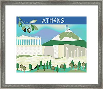 Athens Greece Horizontal Scene Framed Print by Karen Young
