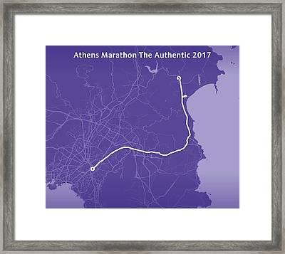 Athens Marathon Purple Framed Print