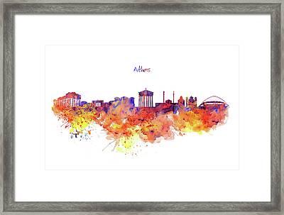 Athens Skyline Framed Print
