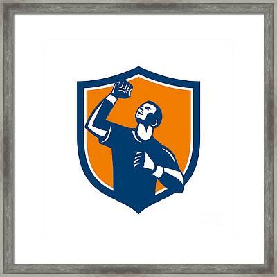 Athlete Fist Pump Crest Retro Framed Print