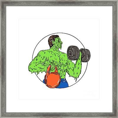Athlete Fitness Dumbbell Kettlebell Grime Art Framed Print