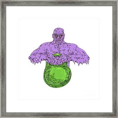 Athlete Lifting Kettle Bell Grime Art Framed Print