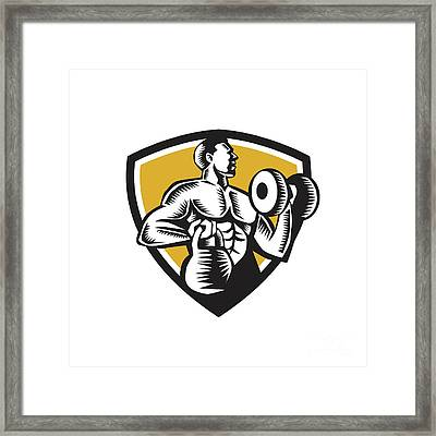 Athlete Lifting Kettlebell Dumbbell Crest Woodcut Framed Print by Aloysius Patrimonio