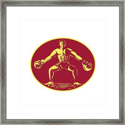 Athlete Lifting Kettlebell Oval Woodcut Framed Print