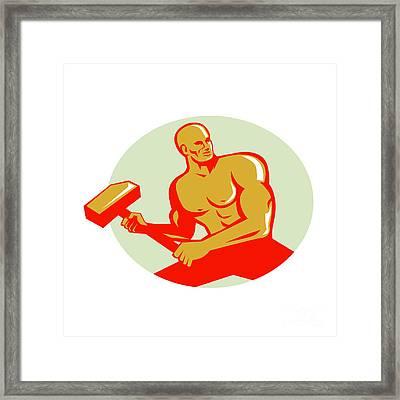Athlete With Sledgehammer Training Oval Retro Framed Print by Aloysius Patrimonio
