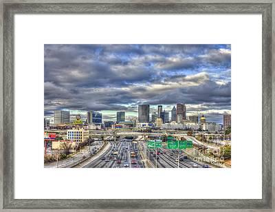 Atlanta Art South Looking North Skyline  Framed Print by Reid Callaway