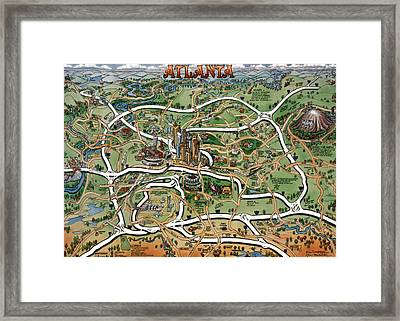 Atlanta Cartoon Map Framed Print