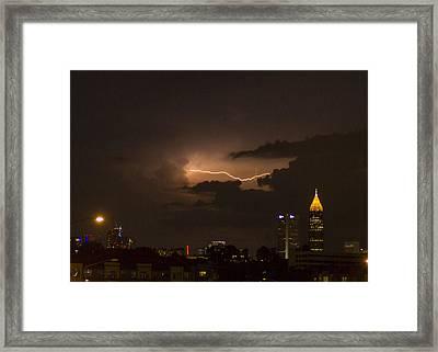 Atlanta Cloud Lightning Framed Print by Reid Callaway
