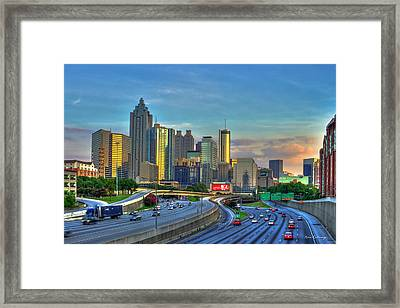 Framed Print featuring the photograph Atlanta Coca-cola Sunset Reflections Art by Reid Callaway