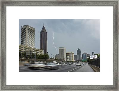 Atlanta Daytime Lightning Framed Print by Reid Callaway