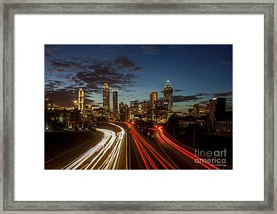 Framed Print featuring the photograph Atlanta Downtown Infusion Atlanta Sunset Cityscapes Art by Reid Callaway
