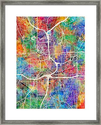Atlanta Georgia City Map Framed Print by Michael Tompsett