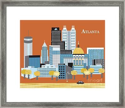 Atlanta Georgia Horizontal Skyline Framed Print
