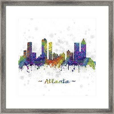Atlanta Georgia Skyline Color 03sq Framed Print by Aged Pixel
