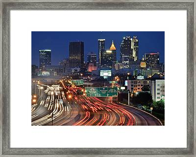 Atlanta Heavy Traffic Framed Print by Frozen in Time Fine Art Photography