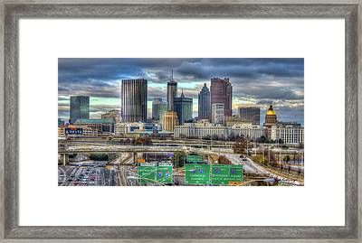 Framed Print featuring the photograph Atlanta Moving On Skyline Cityscape Art by Reid Callaway