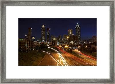 Atlanta Night Lights Atlanta Cityscape Art Framed Print by Reid Callaway