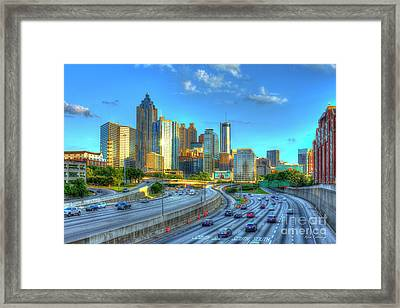 Atlanta Postcard Downtown Atlanta Sunset Art Atlanta Georgia Framed Print by Reid Callaway