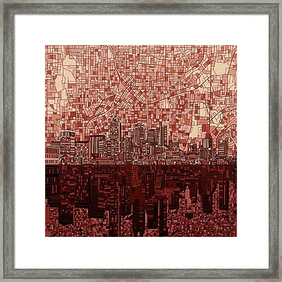 Atlanta Skyline Abstract Deep Red Framed Print