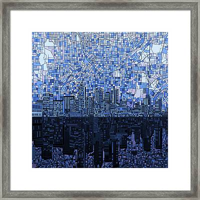 Atlanta Skyline Abstract Navy Blue Framed Print