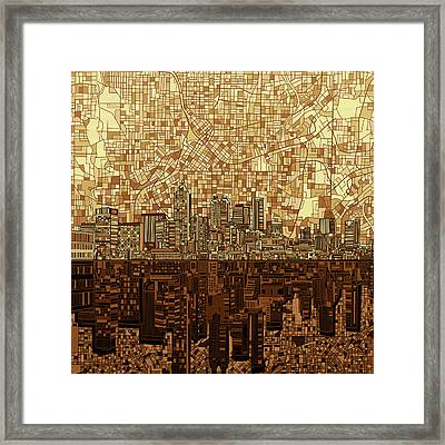 Atlanta Skyline Abstract Orange Framed Print
