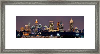 Atlanta Skyline At Night Downtown Midtown Color Panorama Framed Print