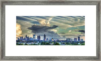 Atlanta Skyline Cloud Panorama Framed Print by Reid Callaway