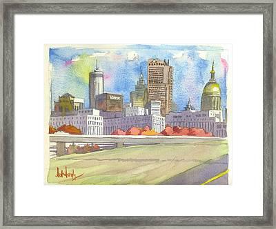 Atlanta Skyline Color Framed Print