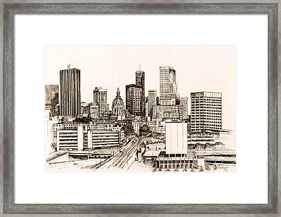 Atlanta Skyline Framed Print by Pamir Thompson